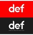 letter D E F logo paper set background vector image