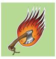 Axe on fire vector image