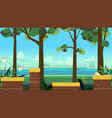 cute cartoon seamless landscape with separated vector image