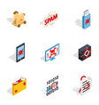 protection and security icons isometric 3d style vector image