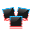 Three photo frame in US national colors isolated vector image