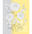 yellow grey floral vector image