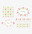 embroidery floral decorative elements set vector image vector image