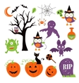 Cute colorful halloween elements collection vector image vector image