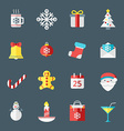 Christmas icons in flat design style for web and vector image