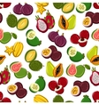 Exotic fruits seamless pattern background vector image