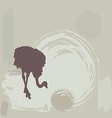 Ostrich silhouette on grunge background vector image