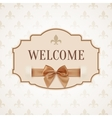 Welcome vintage retro banner with golden ribbon vector image