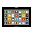 Tablet with colorful application icons vector image