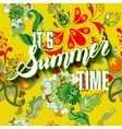It is summer time yellow lettering background vector image vector image