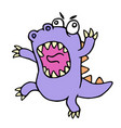 crazy purple cartoon dinosaur vector image