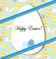 Easter card with egg and blue bow vector image