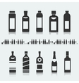 Set of symbols bottle alcohol vector image