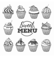 Set of vintage cupcakes vector image