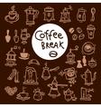 Sketch doodle coffee icon set Hand drawn vector image