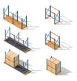 Storage racks for pallets presented in various vector image