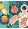 Cooking instruction of frying bacon vector image