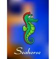 Cute little cartoon seahorse vector image
