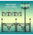 shod street fence with lanterns vector image