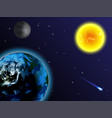 space background the sun earth moon and comet vector image