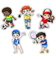 Sticker set of children playing sports vector image
