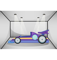 A violet sports car inside the garage vector image vector image