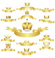 Set of golden crown with curves banner vector image