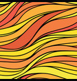 color hand-drawing seamless wave background red vector image