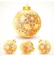 Ornate vintage golden Christmas balls set vector image vector image