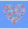 Sea life heart background vector image