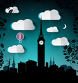Night Landscape with City and Tower Silhouette and vector image vector image