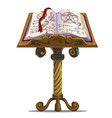 ancient book of spells with symbols on stand vector image