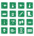 gardening icons set grunge vector image