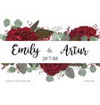 wedding invite invitation with red roses vector image