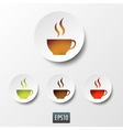 White paper coffee and tea cup icon set vector image