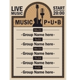 poster for the beer pub with live music vector image vector image