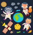 set of animals in space part 1 vector image