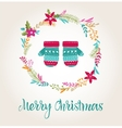 knitted mittens Xmas background Merry Christmas vector image vector image
