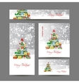 Cards with christmas tree for your design vector image vector image