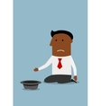 Businessman begging for money with hat vector image