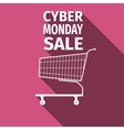 Cyber Monday sale Shopping cart flat icon with vector image