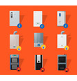 different boilers flat icons vector image