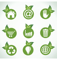 Different icons and design with green leaf vector image