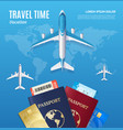 travel time concept with passport and boarding vector image
