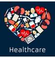 Heart shape emblem with medicine symbols vector image