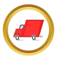 Red delivery car icon vector image