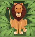 realistic color poster closeup lion in the jungle vector image