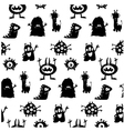 cute monsters silhouettes pattern vector image