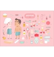 After shower bathroom set on pink background Dodo vector image