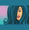 beautiful woman looking through long hair vector image